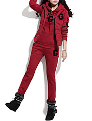 Women's Sports Simple Winter Set Pant Suits,Letter Hooded Long Sleeve Red / Gray / Yellow Polyester Thick