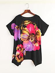 Tee-shirt Aux femmes,Fleur Décontracté / Quotidien Bohème / Chic de Rue Eté Manches Courtes Col Arrondi Noir Rayonne Fin