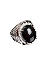 Ring Onyx Wedding / Party / Daily Jewelry Agate / Silver Plated Women / Men Ring / Engagement Ring 1pc,One Size Black / Silver
