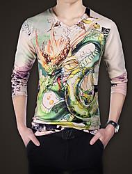 Tee-shirt Hommes,Imprimé Décontracté / Quotidien / Grandes Tailles Punk & Gothique Toutes les Saisons Manches Longues Col en V Beige Coton