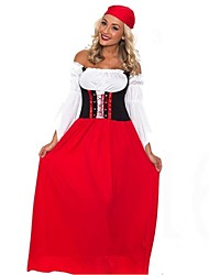 Adult Sexy Red Oktoberfest Costume Female Beer Festival Uniforms Long Beer Girl Dress Women French Maid Costumes for  Halloween