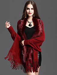 Women's Plus Size / Casual/Daily Simple Fur CoatSolid / Patchwork Round Neck Sleeveless Winter  Faux Fur Medium