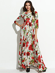 Women's Going out Vintage Swing Dress,Floral Round Neck Maxi Long Sleeve Polyester Spring Summer Mid Rise Inelastic Thin