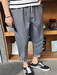 Masculino Solto Chinos / Shorts Calças-Cor Única Casual Simples Cintura Média Com Cordão Algodão Micro-Elástico Verão