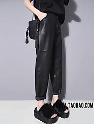 dt2016 зима новый оригинальный гонконг вкус большой карман свободные брюки случайные дикие девять очков Харлан пу кожаные штаны женская