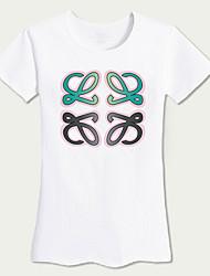 Tee-shirt Femme,Couleur Pleine Sortie / Plage simple / Actif Eté Manches Courtes Col Arrondi Blanc Coton Moyen