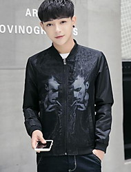Men's Casual/Daily Simple Leather Jackets,Solid Stand Long Sleeve Winter Multi-color PU Medium