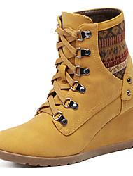 Wedge cross belt round head high-heeled boots Martin boots