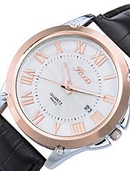 Masculino Relógio de Pulso Quartzo Calendário Couro Legitimo Banda Legal Casual Preta Marrom Branco Preto Marron