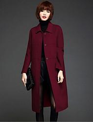 Feminino Casaco Casual Simples Inverno,Sólido Azul / Vermelho / Preto Lã Colarinho de Camisa-Manga Longa Média