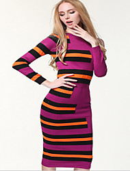 Women's Going out / Beach / Holiday Sexy / Cute / Chinoiserie Sheath Dress,Solid Round Neck Midi Long Sleeve Black / Purple Cotton Spring