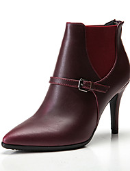 Women's Boots Spring Fall Winter Other Cowhide Microfibre Wedding Dress Party & Evening Stiletto Heel Zipper Others Gore Black Burgundy