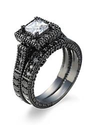 High Quality Romantic Ring Women White Square Zircon Black Gold Plating Female Jewelry Rings Platinum Plating Black Cool