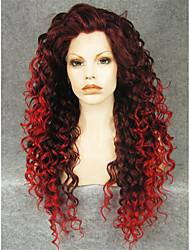 imstyle 26''drag reine mélange rouge longues perruques avant de dentelle synthétique bouclés chaleur cosplay résistant