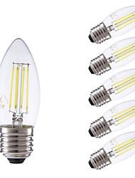 3.5 E26/E27 Ampoules à Filament LED B 4 COB 350/400 lm Blanc Chaud / Blanc Froid Gradable AC 100-240 V 6 pièces