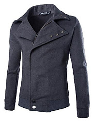 Men's Going out / Casual/Daily Simple / Active Jackets,Solid Long Sleeve Black / Gray Wool Medium