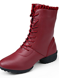 Women's Boots Comfort Leather Casual Black Red