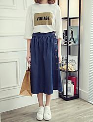 Damen Übergrössen Röcke,A-Linie einfarbigLässig/Alltäglich Einfach Mittlere Hüfthöhe Midi Elastizität Polyester Micro-elastisch