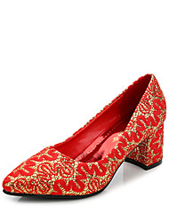 Women's Heels Winter Comfort Fabric Wedding Chunky Heel Others Red