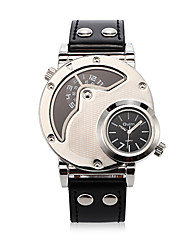 Men's Fashion Casual Dual Time Zones Christmas Sport Daily  Round Dial Alloy Watchcase  Leather Band Quartz Analog Wrist Watch(Assorted Color)