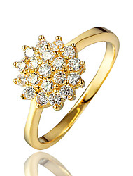 Party Dress Real 18K Yellow Gold Plating Wedding Ring for Women