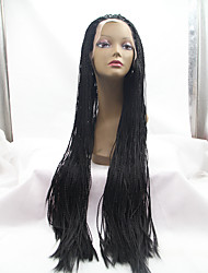 sylvia rendas sintética frente peruca de cabelo trançado pretos e lisos menores tranças aquecer perucas sintéticas resistentes