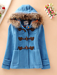 Women's Casual/Daily Simple Coat,Solid Hooded Long Sleeve Fall / Winter Blue / Orange Wool / Cotton Medium / Thick