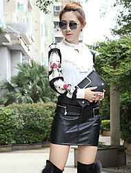Women's Pencil Solid Skirts,Casual/Daily Mid Rise Mini Zipper PU Micro-elastic Spring