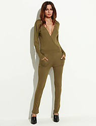 Women's Solid Green Jumpsuits,Simple V Neck Long Sleeve