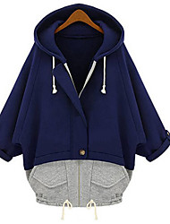 Large yards women Hooded Bat sleeve Loose Wild Cardigan Sweater