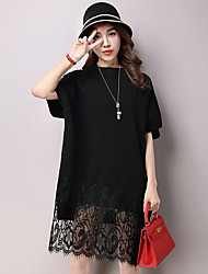 Women's Casual/Daily Simple Lace / Sweater Dress,Patchwork Round Neck Knee-length ½ Length Sleeve Red / Black / Gray Polyester FallMid