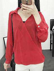 Feminino Blusa Casual / Formal / Férias Sensual / Simples / Sofisticado Primavera / Verão,Sólido Vermelho / Branco / Preto / Marrom