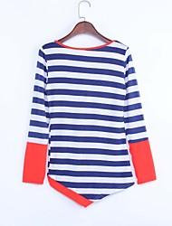 Tee-shirt Aux femmes,Rayé / Mosaïque Sexy Automne Manches Longues Col Arrondi Rouge / Violet Coton Opaque
