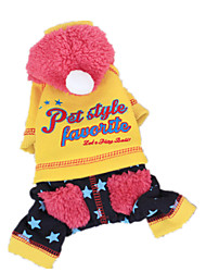 Dog Coat Yellow / Pink Dog Clothes Winter / Spring/Fall Letter & Number Keep Warm
