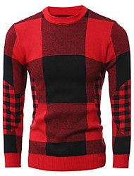 Men's Going out Casual/Daily Work Club Simple Street chic Chinoiserie Regular Pullover,Solid Houndstooth Round Neck Long SleeveWool