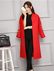 Women's Casual/Daily Simple Coat,Embroidered V Neck Long Sleeve Fall Red Wool / Polyester Medium