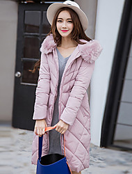 Women's Long Padded Coat,Cute Casual/Daily Solid-Cotton Cotton Long Sleeve Hooded Pink / Red / Black