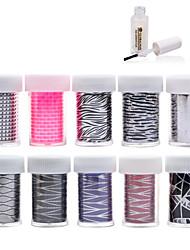 New 100Designs Nail Art Transfer Foil Paper 10pcs + 1pcs Nail Foil Glue (from #61 to #70)
