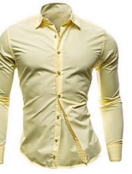 Masculino Camisa Informal / Casual Simples Primavera / Outono,Sólido Azul / Vermelho / Verde / Laranja / Amarelo Algodão Colarinho Chinês
