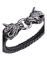 Kalen New Punk 316 Stainless Steel Double Wolf Biker Bracelets High Quality Gothic Leather Animal Charm Men's  Cool Bracelets Bangles Gifts
