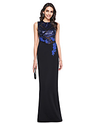 TS Couture® Prom  Formal Evening Dress Sheath / Column High Neck Floor-length Sequined / Matte Satin with Appliques / Sequins