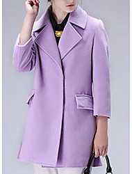 Women's Casual/Daily Simple Coat,Solid Long Sleeve Red / Green / Yellow / Purple Polyester