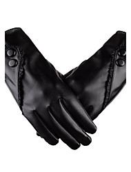 Women's PU Wrist Length Fingertips Add Wool Cute/ Party/ Casual Winter Fashion Warm Gloves