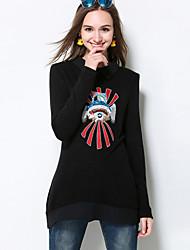 Damen Stickerei Einfach Lässig/Alltäglich / Übergröße T-shirt,Hemdkragen Herbst Langarm Schwarz Polyester / Elasthan Mittel