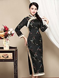 Gaine Robe Femme Décontracté / Quotidien Chinoiserie,Broderie Mao Midi Manches Longues Noir Polyester Automne Taille Normale