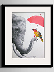 E-HOME® Framed Canvas Art Elephants And Birds Framed Canvas Print One Pcs