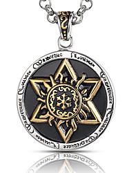 style punk collier de charme pendentif hommes acier inoxydable 316L rétro sculpture à six branches étoiles bijoux