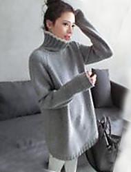 Damen Lang Pullover-Ausgehen Party/Cocktail Urlaub Retro Street Schick Anspruchsvoll Solide Grau Rundhalsausschnitt Langarm Polyester