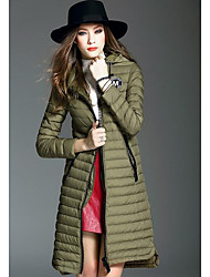 Women's Long Down Coat,Simple Casual/Daily Solid-Polyester White Duck Down Long Sleeve Hooded Green