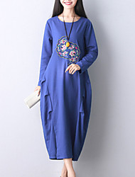 Women's Elegant chic Loose Dress Print / Embroidered Round Neck Midi Long Sleeve Blue / Black Cotton / Linen Fall Mid Rise